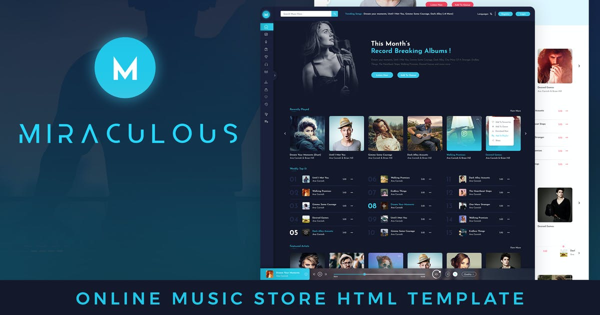Download Miraculous Online Music Store HTML Template by kamleshyadav