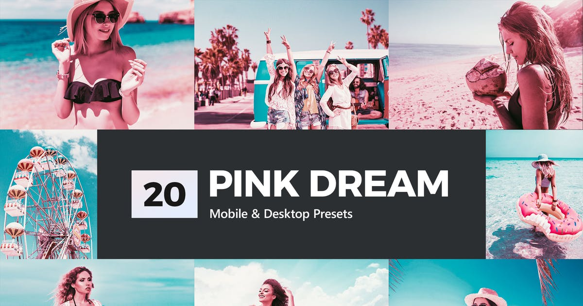 Download 20 Pink Dream Lightroom Presets and LUTs by sparklestock