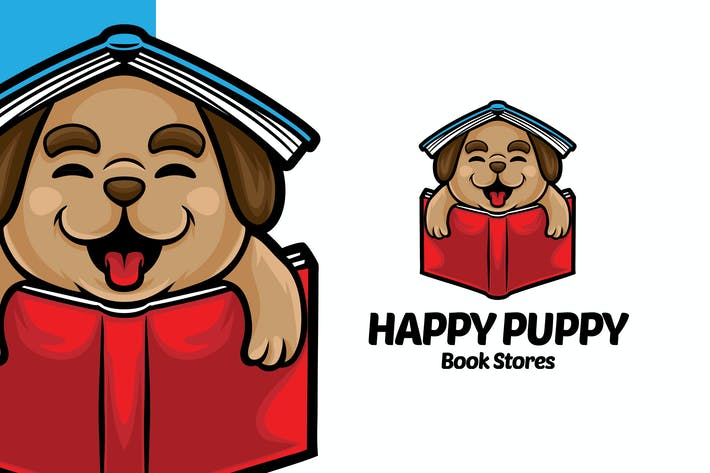 Thumbnail for Happy Puppy Book Store Logo Mascot Template