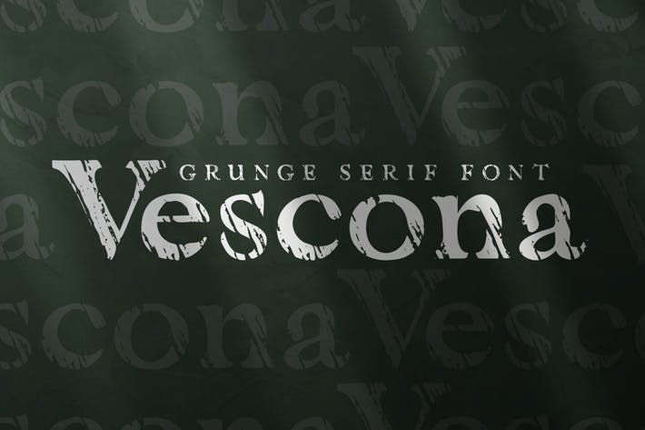 Thumbnail for Vescona - Grunge Serif Font
