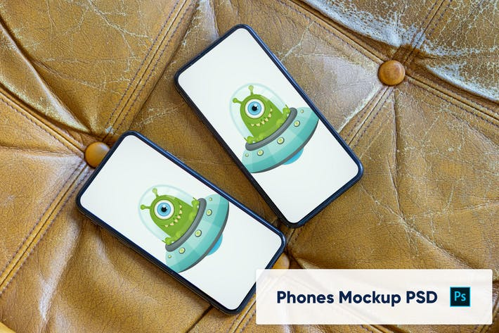 Thumbnail for Two phones on leather background - mockup PSD