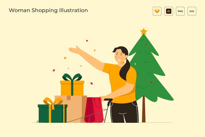 Thumbnail for Woman Shopping on christmas Vector Illustration