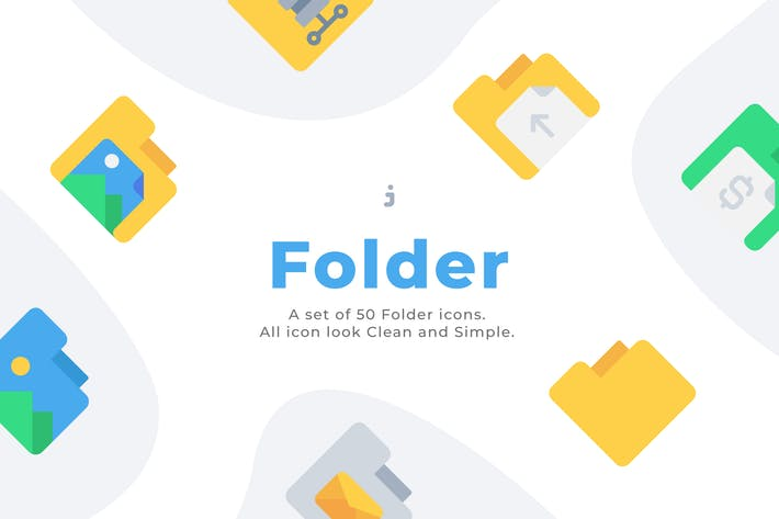 Cover Image For 50 Folder icons - Flat