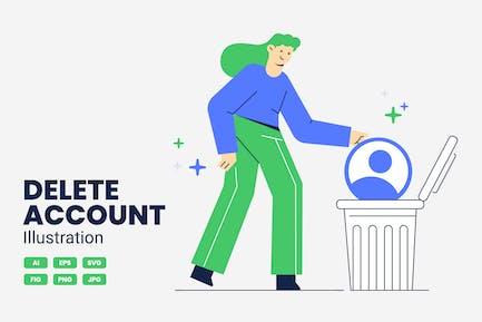 Delete Account Vector Illustration