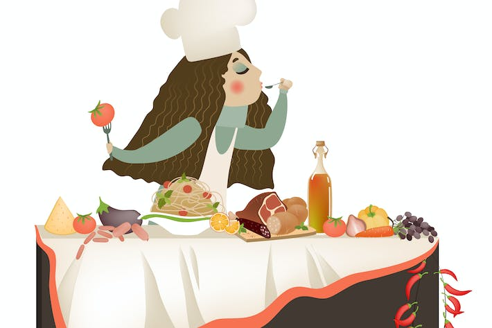 Thumbnail for Vector illustration of woman cooking
