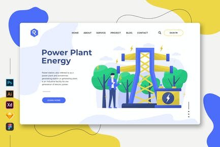 Power Plant Energy - Web & Mobile Landing Page