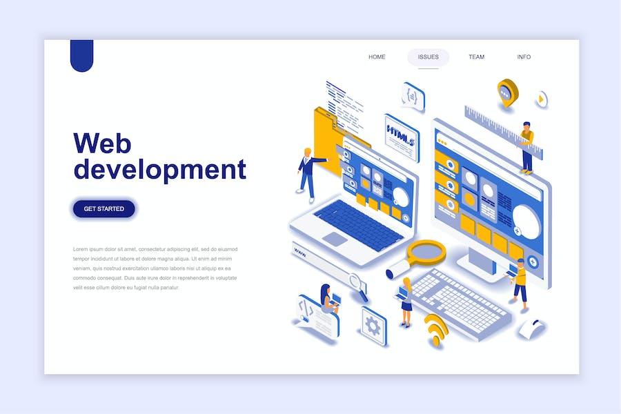 Web Development Isometric Landing Page