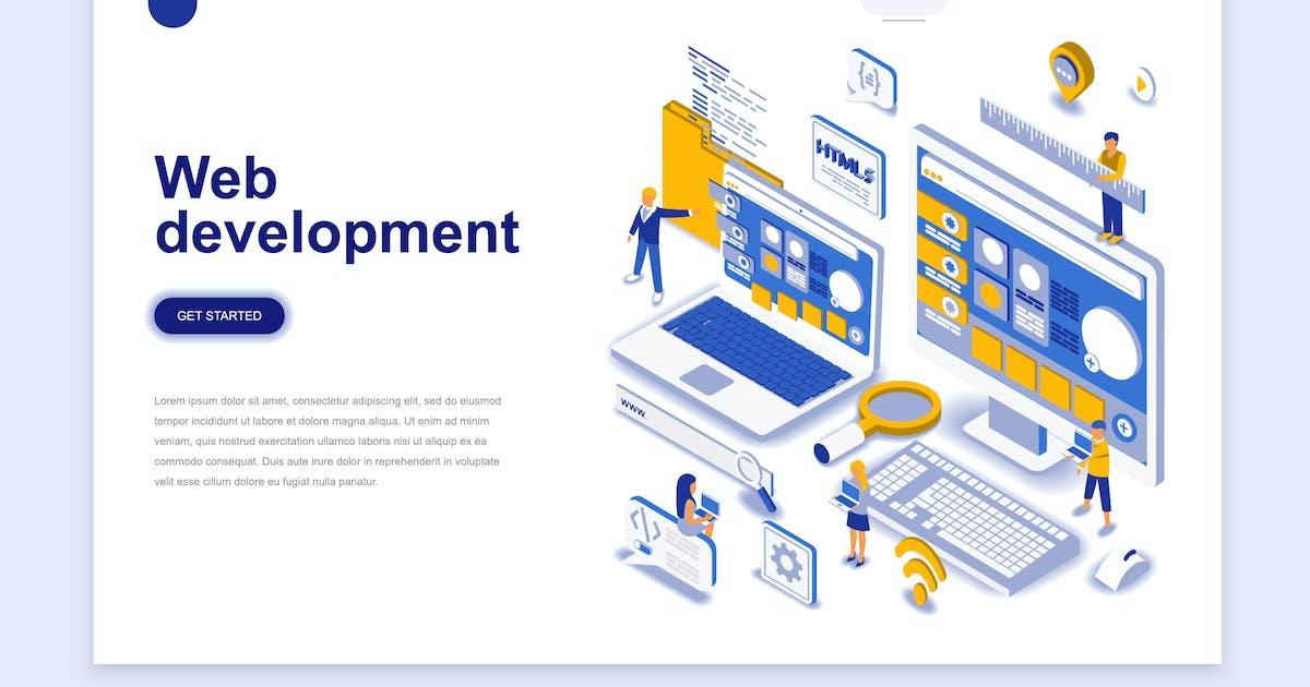 Download Web Development Isometric Landing Page by alexdndz