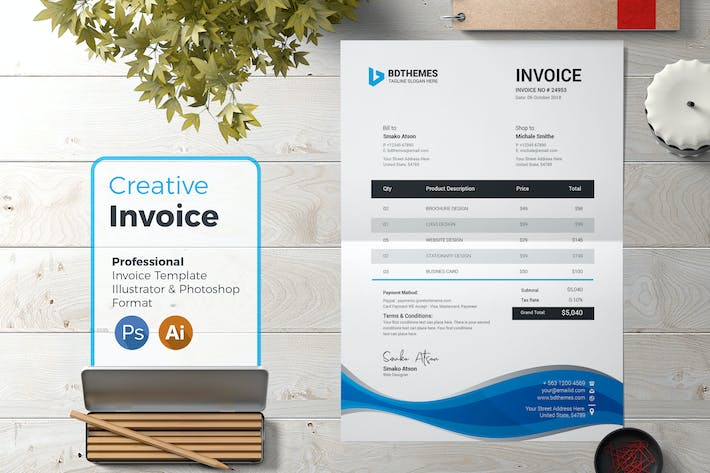 Business Invoice Template 03 By Bdthemes On Envato Elements