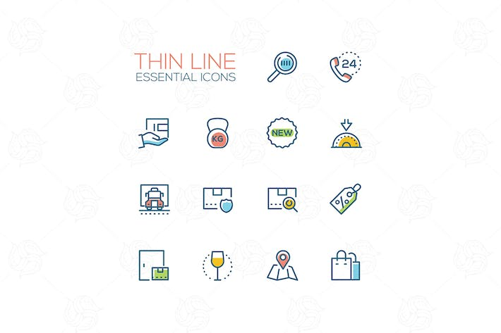 Thumbnail for Essential icons - modern vector single line icons