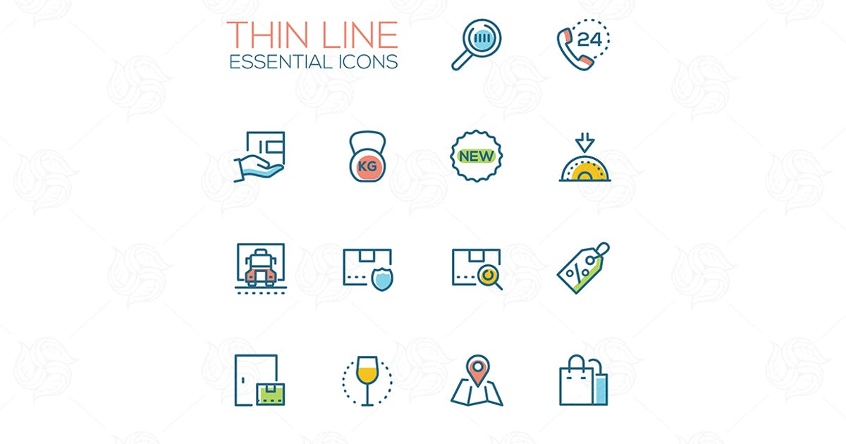 Essential icons - modern vector single line icons by Unknow