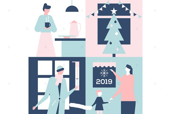 Thumbnail for Happy New Year - flat design style illustration