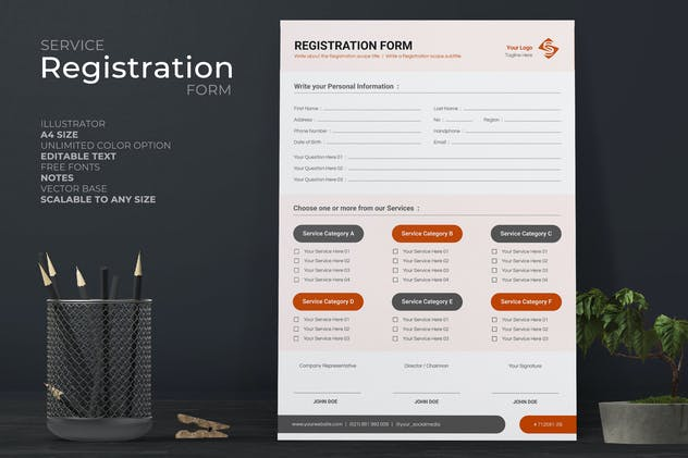 Clean Registration Form With Red Accent