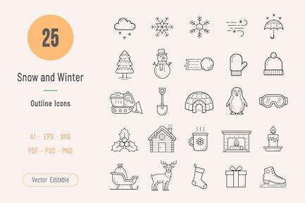 Iconos de nieve e invierno