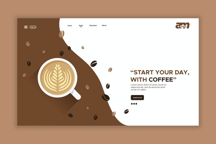 Thumbnail for Coffee First - Web Header & Landing Page