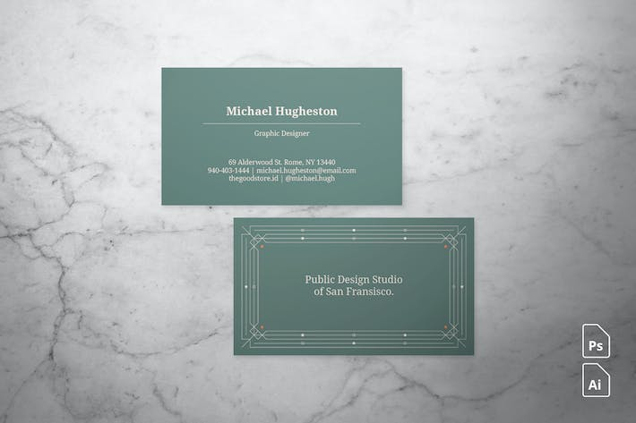Cover Image For Art Deco Business Card