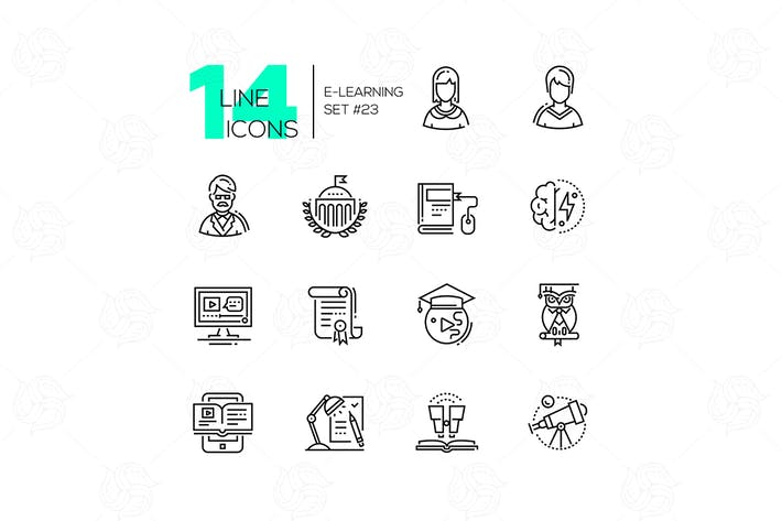 Thumbnail for E-Learning - modern line design style icons set