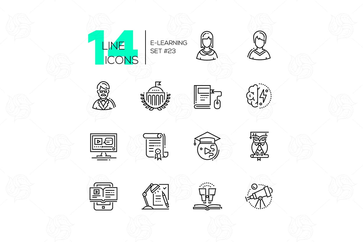Download eLearning- modern single line icons set by BoykoPictures by Unknow