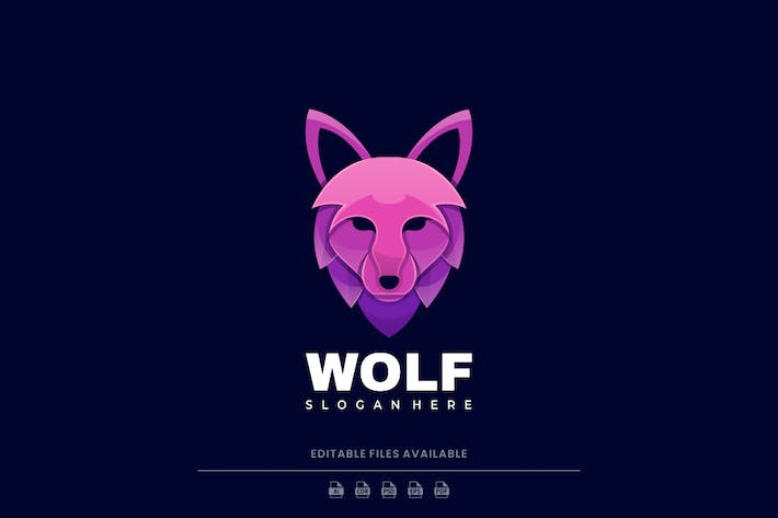Wolf Gradient Colorful Logo