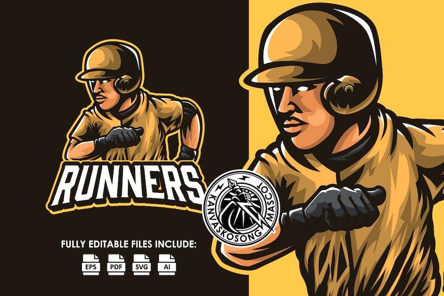 Runner Baseball Logo Template