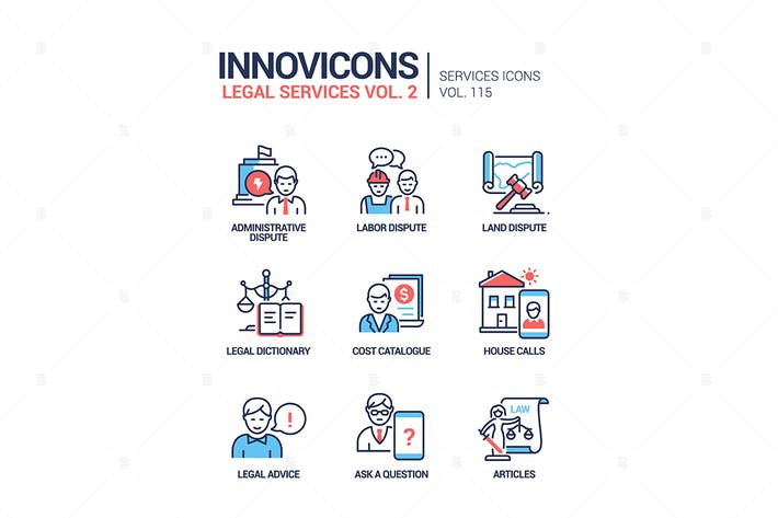 Thumbnail for Legal services - line design style icons set