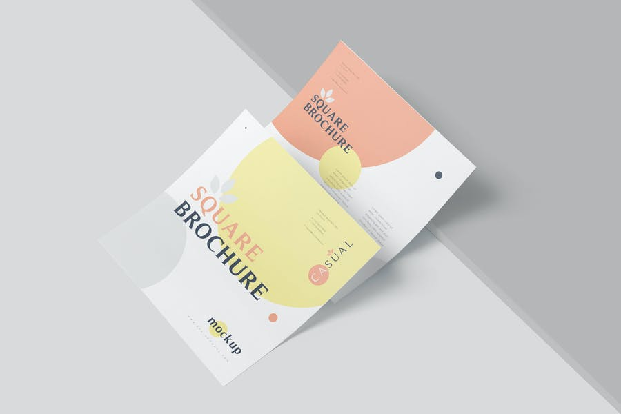 One Page Square Business Brochure Mockups