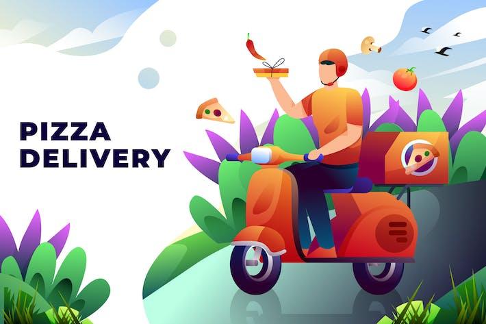 Pizza-Lieferung - Vektor-Abbildung