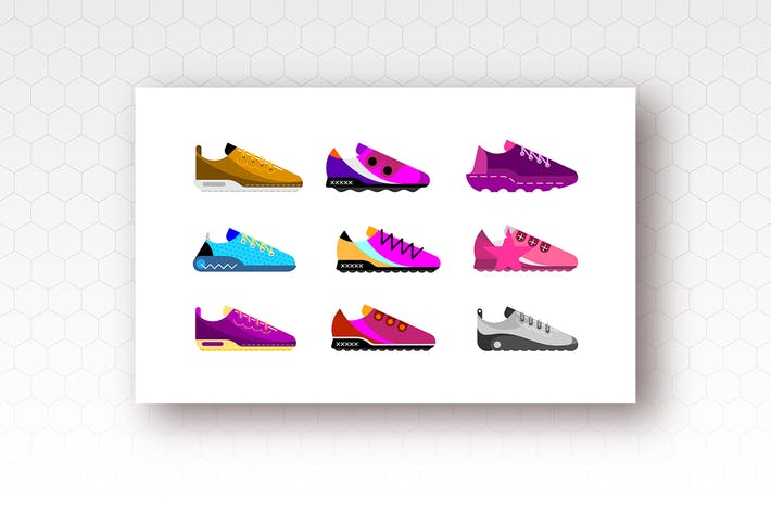 Thumbnail for Sports Shoes Flat Style Vector Icons