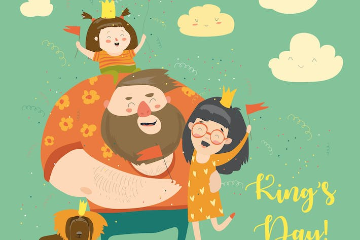 Thumbnail for Happy family celebrating Kings Day. Vector