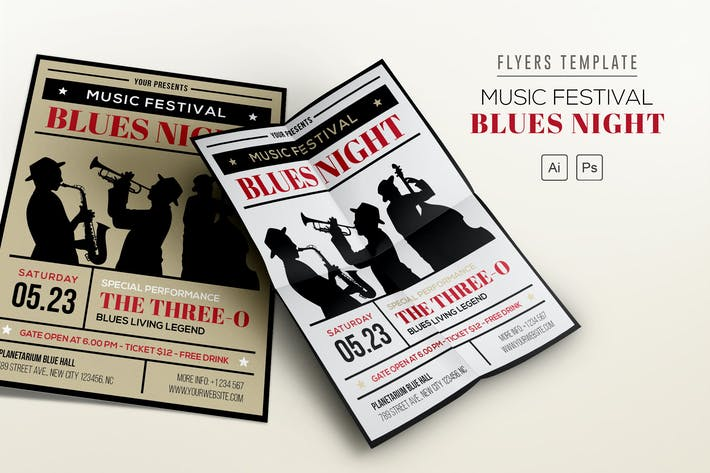 Music Festival Print Templates Compatible With Adobe Illustrator - Adobe illustrator flyer template