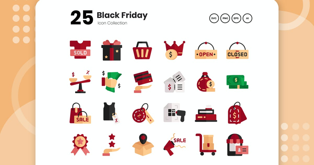 Download 25 Black Friday Flat Icon by vectorclans
