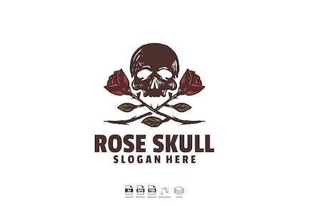 rose skull logo template