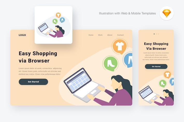 Thumbnail for Shopping via computer illustration (Sketch & SVG)