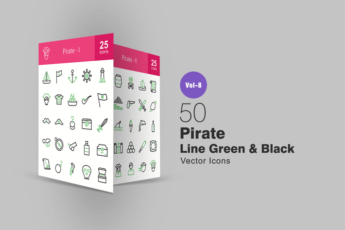 Thumbnail for 50 Pirate Green & Black Line Icons