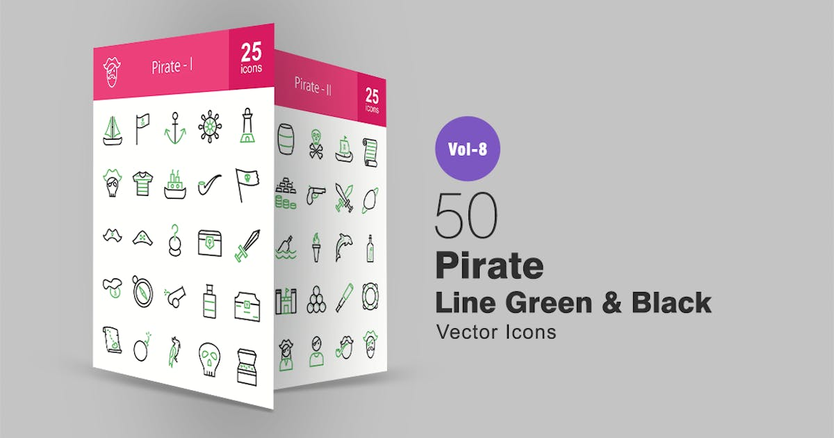 Download 50 Pirate Green & Black Line Icons by Unknow
