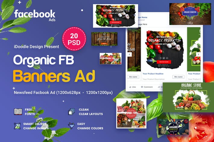 Thumbnail for Organic Facebook Ads - 20 PSD