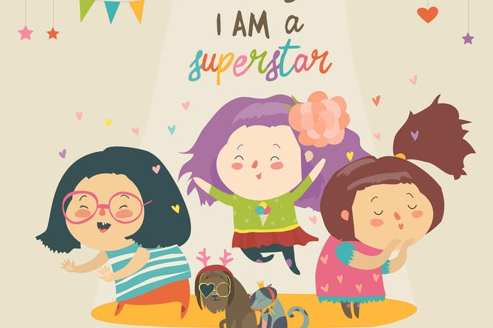 Cover Image For Cartoon girls superstar with funny pets. Best