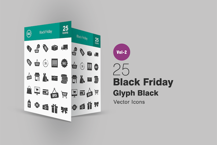 Thumbnail for 25 Black Friday Glyph Icons