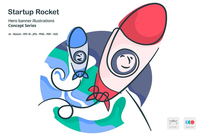 Thumbnail for Startup Space Rocket Takeoff Vector Illustration