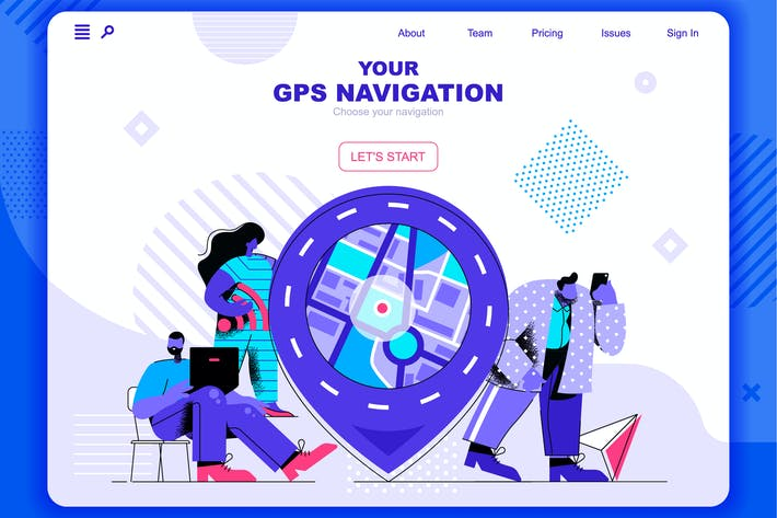 Thumbnail for GPS Navigation Flat Concept Landing Page Header