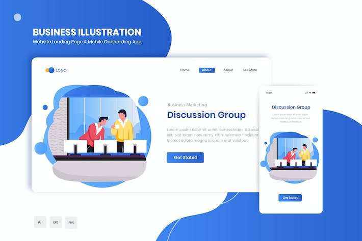 Thumbnail for Discussion Group Flat Landing & Onboarding App