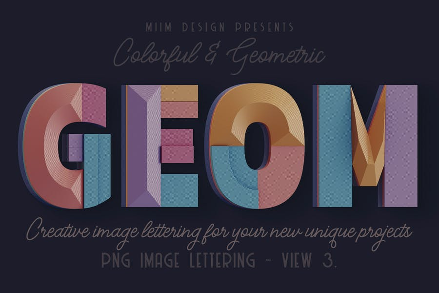 Decorative Geometry - 3D Lettering - View 3