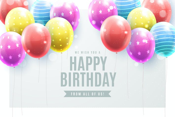 Thumbnail for Realistic Birthday Background with Balloons