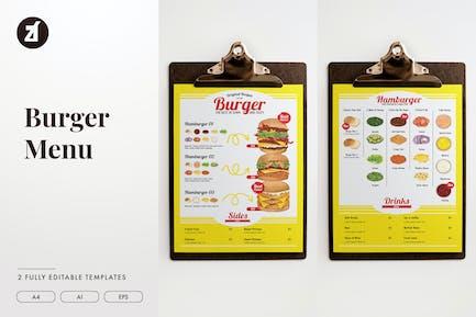 Burger mix and match menu template