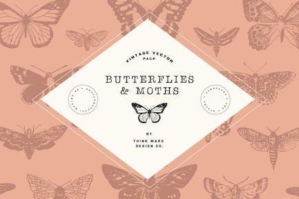 Vintage-Vektor: Schmetterlinge & Motten
