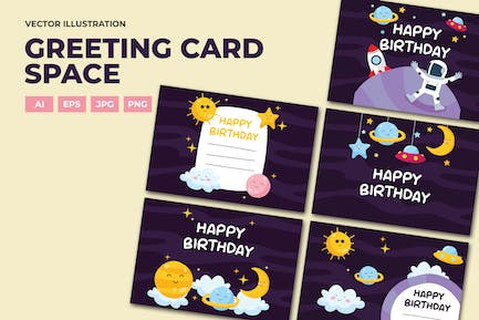Space birthday card greeting and invitation