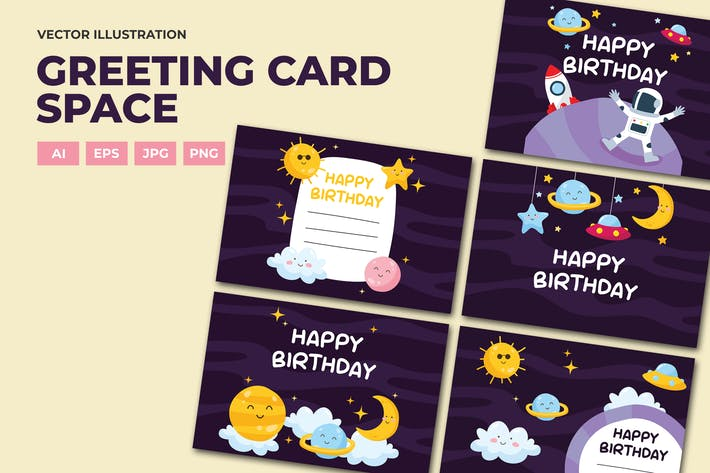 Thumbnail for Space birthday card greeting and invitation
