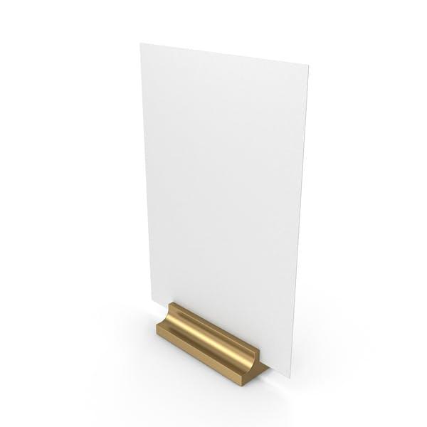 Белый письменный бумажный баннер с золотой подставкой