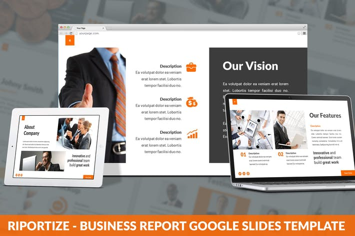 Thumbnail for Riportize - Business Report Google Slides Template