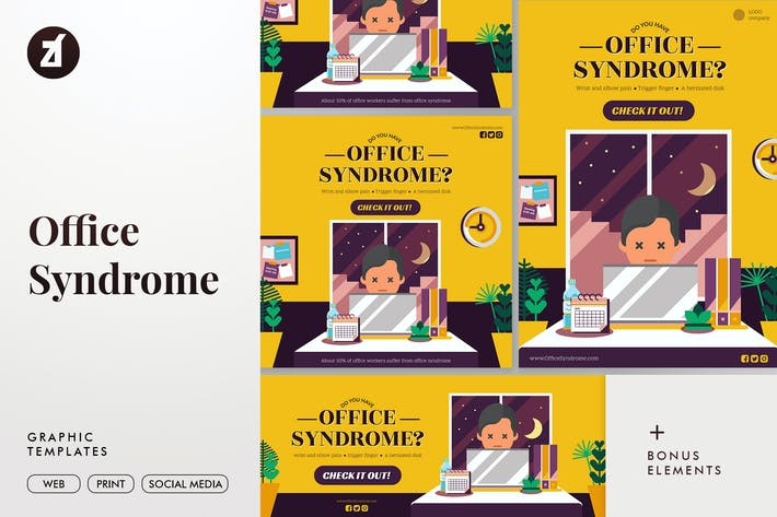 Thumbnail for Office syndrome graphic templates